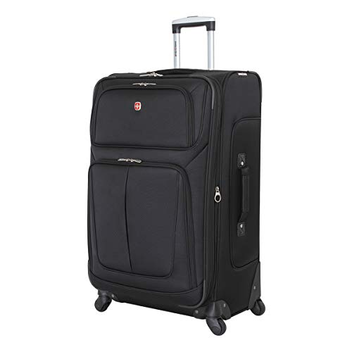 SwissGear Sion Softside Luggage with Spinner Wheels, Black, Checked-Large 29-Inch