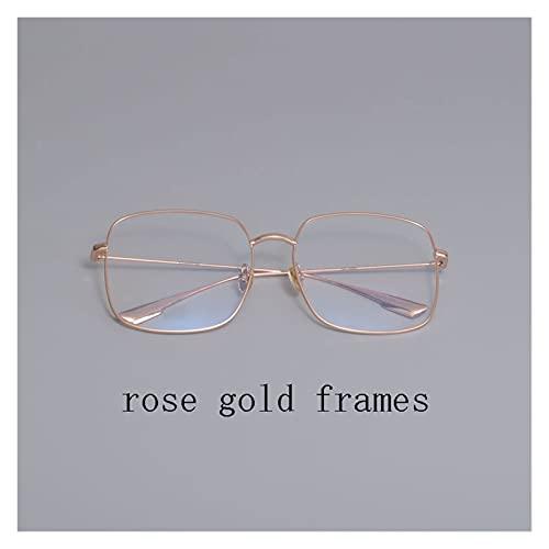 Diseño de Marca de Lujo Stellaire Metal Cuadrado Marcos Nylon UV400 Lente Gafas de Sol Mujeres Hombres con Estuche (Lenses Color : Rose Gold)