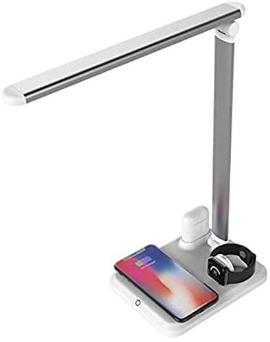 Lámpara de mesa Cargador inalámbrica Soporte LED de la lámpara de escritorio, puerto de carga USB, estación de carga inalámbrica rápida compatible con Apple Watch AirPods iPhone XS MAX / XR / X / 8 Pl