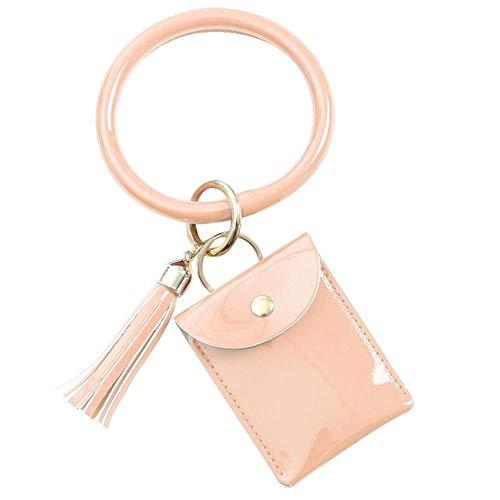 Llavero pulsera pulsera pulsera llavero llavero grande redondo borla de cuero para mujeres niñas con cartera,Q