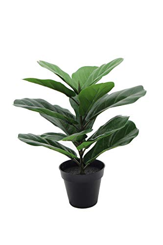 LuckyGreenery Artificial Fiddle Leaf Fig, Realistic Fake Plants with Pots for Home and Office Decoration