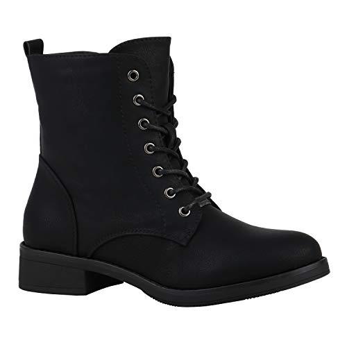 Gefütterte Damen Schuhe Schnürstiefeletten Profilsohle Stiefeletten 152394 Schwarz Brito 39 Flandell