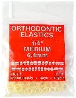 100 Pack Orthodontic Elastics 1/4