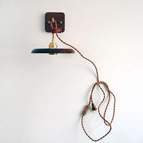 WVIVW Aplique con Interruptor Madera Interior Vintage Soporte de Latón Lámpara de...