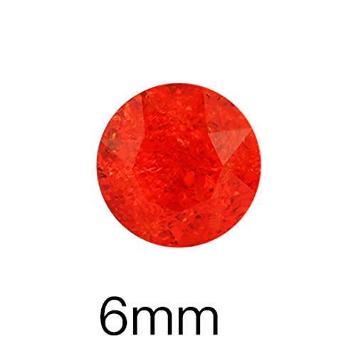 Couleur rouge cristal de glace pierres 6 mm colle ovale sur les ongles strass pointback rond verre S ongles accessoires, fleur de gemme 6 mm, 10 pièces