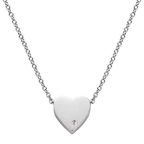 Perlkönig Edelstahl Kette Halskette   Damen Frauen   Herz in Silber   Poliert   Zirkonia Glitzer Stein   Karabiner   Nickelabgabefrei