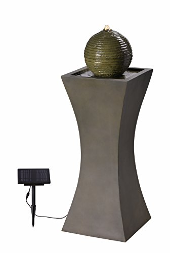 Kenroy Home 51014MS Bubble Outdoor Solar Fountain with Light, 40 Inch Height, Moss Stone Finish