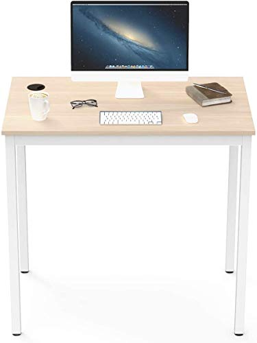 Eureka Ergonomic Small Desk, 31.5' White Computer Desk for Small Home Office Workstation with Metal Frame Adjustable Feet, Walnut & White