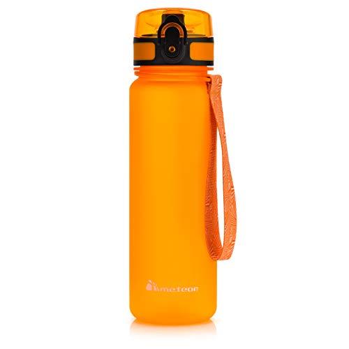 Botella Agua sin BPA Tritan Plastico Water Bottle Reutilizable para Niños Juventud y Adultos Ideal para Deportes Oficina Escuela Gimnasio Ciclismo Varios Tamaños y Colores (500ml, Naranja)