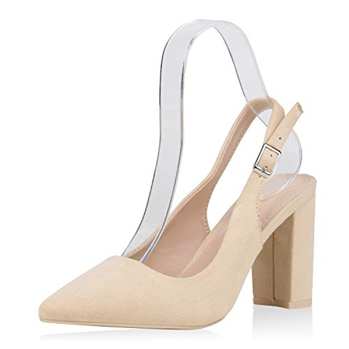 SCARPE VITA Damen Spitze Pumps Slingpumps High Heels Blockabsatz Schuhe Slingback Abendschuhe Elegante Absatzschuhe 187695 Creme 37