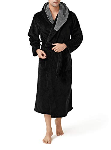 DAVID ARCHY Men's Hooded Robe Ultra Soft Plush Coral Fleece Warm Cozy Shawl Collar Long Bathrobe (L, Black)