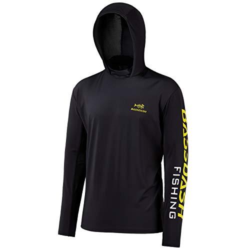 Bassdash - Sudadera con Capucha para Hombre con protección Solar UV 50+ (Logotipo Negro/Amarillo, XXX-Large)