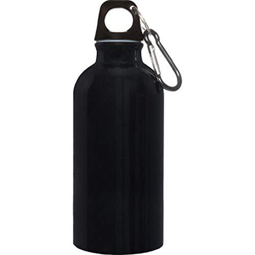 Borraccia Alluminio 400 ml con moschettone Misure Articolo 6,5x17,5 cm.per info contattare MF Sport 055-264490 (Nero)