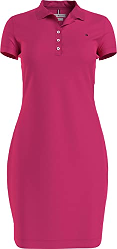 Tommy Hilfiger Slim Short Polo Dress SS Vestido Informal, Pink, XXS para Mujer