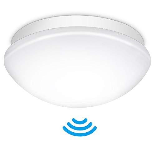 LED Deckenleuchte mit Bewegungsmelder Einstellbar, Oraymin E27 LED Deckenleuchte Lampenschirm mit Lichtsensor, IP44 LED Feuchtraumleuchte Lampenschirm Maximaler Anschluss von 60W Lampen, ø27.5CM