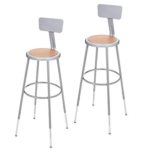 (2 Pack) OEF Furnishings Height Adjustable Grey Shop Stool With Backrest, 31-38