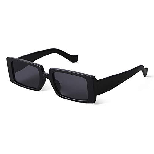 Grainas Retro Rechteckige Sonnenbrille für Damen Herren Unisex Vintage Schmale Brille UV400-Schutz Sunglasses (Schwarz 2)