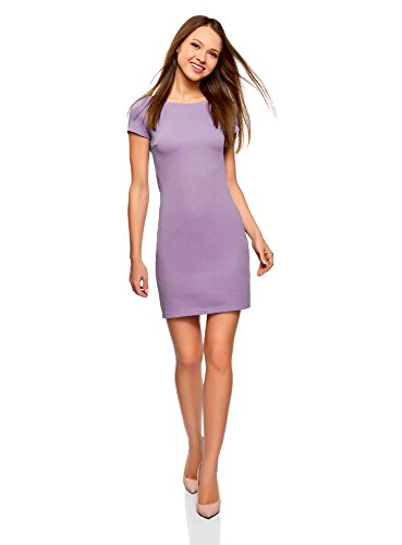 oodji Ultra Damen Kleid aus Strukturiertem Stoff mit U-Boot-Ausschnitt, Violett, DE 36 / EU 38 / S