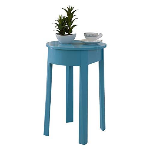 Pilastra diseños–turquesa azul acabado madera mesita auxiliar con cajón