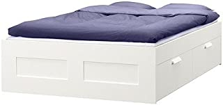 Ikea Bed frame with storage, white fully/ double size