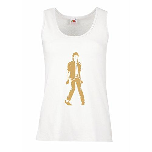 lepni.me Camisetas sin Mangas para Mujer Me Encanta M J - Rey del Pop, 80s, 90s Músicamente Camisa, Ropa de Fiesta (XX-Large Blanco Oro)