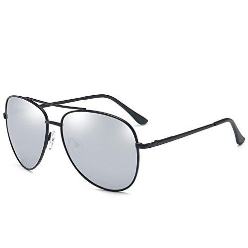Gosunfly Gafas de visión nocturna Gafas de sol Gafas de sol de tendencia clásica para hombre Gafas de aviador clásicas-C6 Marco negro Película de mercurio