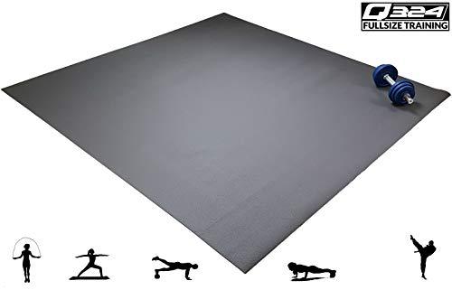Q324 Premium - die extra große Fitnessmatte I 240x240 cm I braun I extra robust und stabil I mit und ohne Schuhen I HIIT I Fitness I Seilspringen I Krafttraining I Gymnastik I Yoga