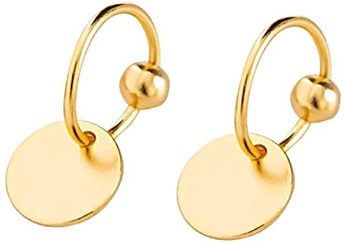 Sterling Silver Disc Drop Dangle Ball Bead Small Hoop Earrings for Women Girls Huggie Endless Round Hoops Cartilage Helix Stud Tragus Minimalist Sleeper Pierced Ear Nickel Free 8mm (Gold)