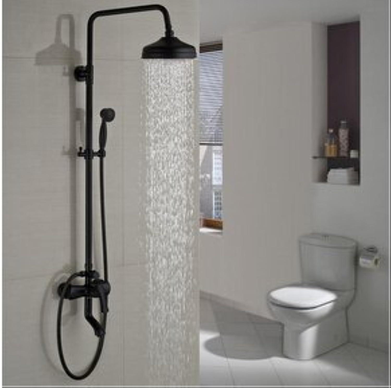 Luxurious shower l eingerieben Bronze an der Wand montierte 8  Regenduschkopf Dusche einzigen Griff Wanne Dusche Wasserhahn Mischbatterien, Multi