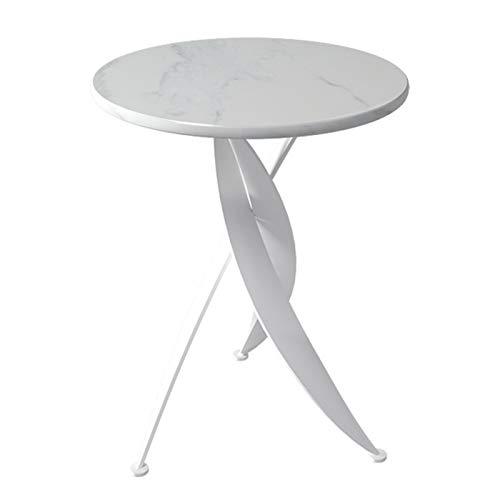 ERLAN Tavolino Tavolino Rotondo Moderno con Piano in Pietra Sinterizzata Bianca, Comodino Comodino per Camera da Letto Balcone, 60cm di Altezza (Color : White, Size : 50cm/19.7in)