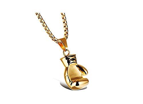 iLove EU Edelstahl Anhänger Halskette Gold Boxhandschuh Boxhandschuhe Handschuhe Valentinstag Paar Partner Geschenk Damen mit 55cm Quadrat Kette
