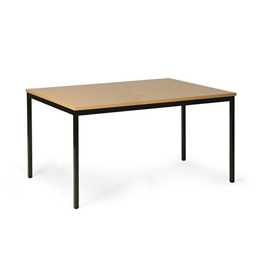 Protaurus Allzwecktisch, LxBxH 2000x1000x750 mm, Tischplatte mit Buchendekor 25 mm dick, Gestell RAL 9005 Schwarz
