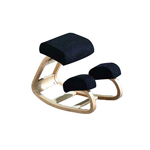 Ergonomic Kneeling Chair Office Chairs, Rocking Posture Correcting Wooden Stool for Office Home Desk Chair,Orthopedic Stool Relieving Back Neck Pain & Improving Posture, Soft Knee Cushions (Black)