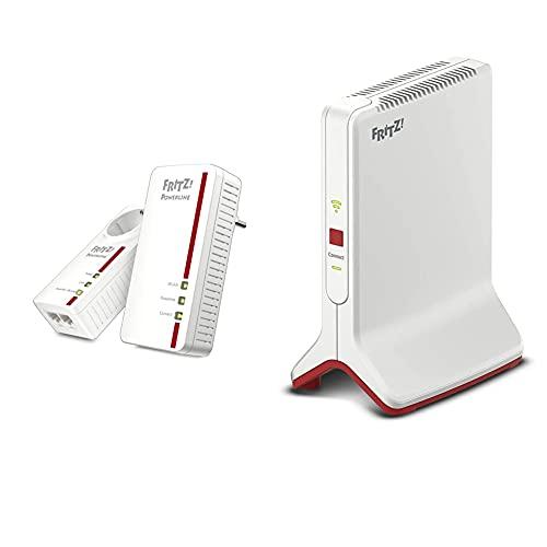 AVM FRITZ!Powerline 1260E/1220E WLAN Set (WLAN-Access Point) weiß & WLAN Mesh Repeater 3000 (DREI Funkeinheiten: 5 GHz (bis zu 1.733 MBit/s), 5 GHz (bis zu 866 MBit/s), 2,4 GHz)