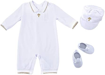 Bow Dream 3 pcs Baby Boy Baptism Outfit with Hat and Shoes Long Sleeve White 12 18 Months product image