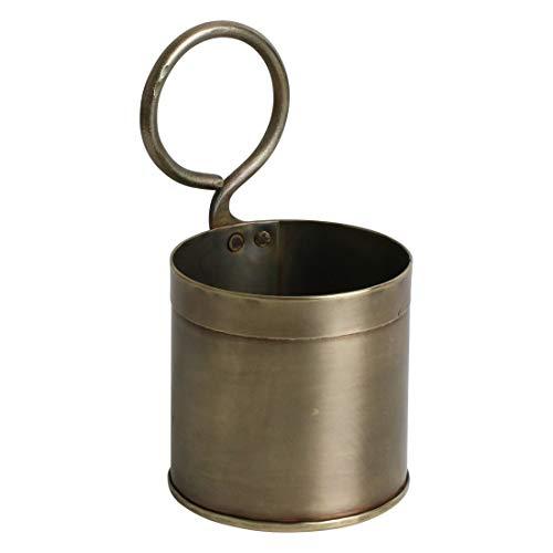 STUFF Loft Vintage Deko Gefäß Blumentopf Topf für Kräuter oder Besteck aus Messing - Maße: Ø 11 x H 21 cm