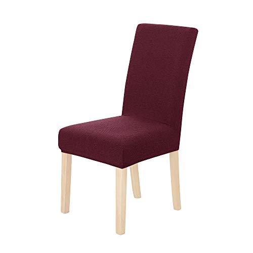 Amazon Brand - Umi Fundas para sillas de Comedor elásticas Suave diseño Ondas Rojo(Juego de 2)
