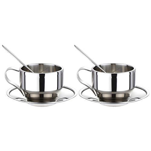 Yaootely Isoliertes Kaffee Tassen Set - Doppel Wandige Espresso Tassen Aus Edelstahl, Latte Cappuccino Tee Tasse mit Untertasse und L?Ffel, 125 Ml (Set Von 2)