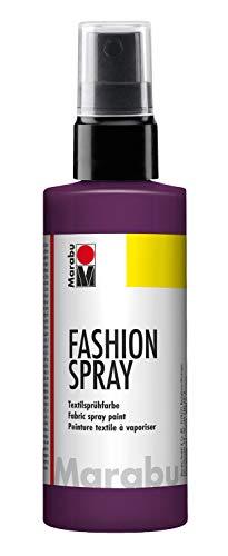 Marabu 17190050039 - Fashion Spray aubergine 100 ml, Textilsprühfarbe, m. Pumpzerstäuber, für helle Textilien, weicher Griff, einfache Fixierung, waschbeständig bis 40°C, tolle Effekte auf Stoff