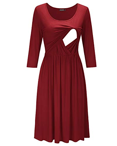 OUGES Womens 3/4 Sleeve Solid Maternity Dresses Nursing Gown Breastfeeding Clothes(Wine,XL)