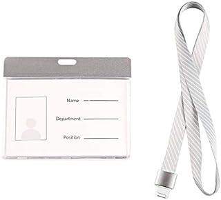 MEETOZ Porte-badge d'identification avec cordon - Double face - Transparent - Cordon tour de cou pour carte d'identité de ...