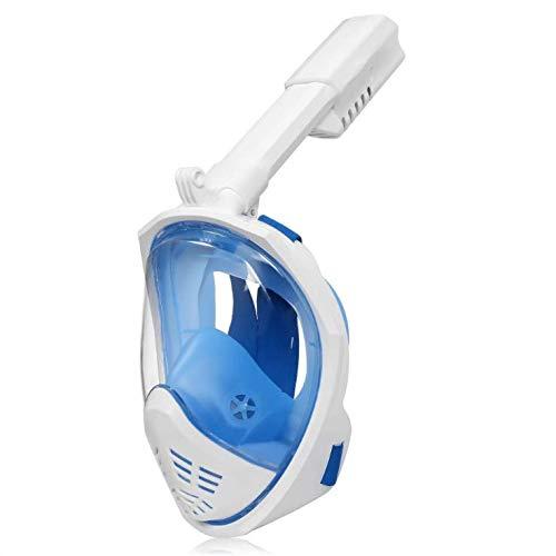 Doublez Máscara de Buceo Máscara Snorkel Plegable 180 Vista Panorámica Anti-Niebla y Anti-Fugas Soporte Cámara GoPro Diving Máscara Snorkel para Adultos y Niños (Blue, L)