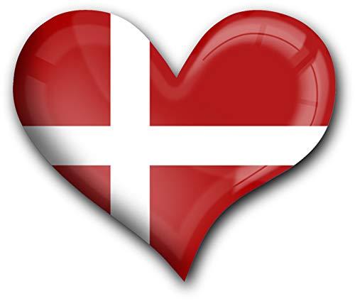 metALUm Herz Acrylmagnet mit starkem Neodym - Magnet Flagge Dänemark #1311001