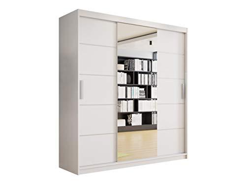 Mirjan24 Kleiderschrank Girona, Schwebetürenschrank mit Spiegel, Kleiderstange und Einlegeboden, Garderobenschrank Dielenschrank, Flurschrank, Schlafzimmerschrank (Weiß, ohne Beleuchtung)