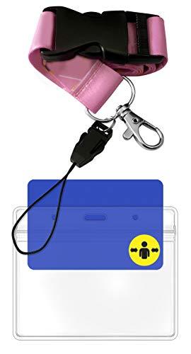 Aocar Cordón de Girasol, Correas de Cuello con Transparente Portatarjeta para Llaves, Tarjetas de Identificación (1 Unidades-Rosado)