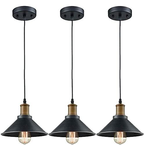 Araña de metal nórdico arte de hierro simple luz colgante duradero 3 piezas de lámpara colgante barata para barras de barra de barras de barra de barra de la luz E27 Industrial Pequeña araña