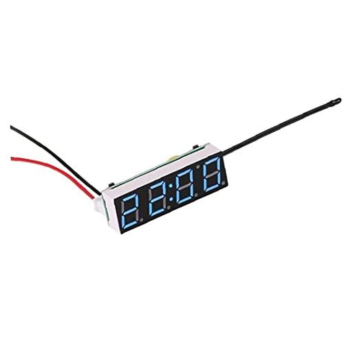 Uayasily Reloj Electrónico De Automóviles 3 En 1 Led Temperatura Digital Voltímetro Reloj Auto Accesorios Azul