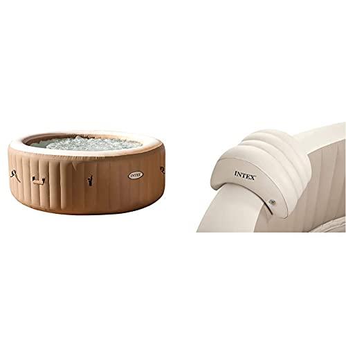 Intex 28426 Pure Spa Bubble Therapy, 196 X 71 Cm 4 Posti, Sabbia, con Pompa, Riscaldatore, Sistema Purificazione Acqua, Beige Classic & 28501 Poggiatesta per Spa