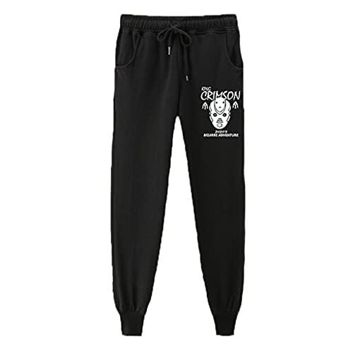 Beilami Pantalones Deportivos para Hombre Mujer Anime JoJo's Wonderful Adventure Jogger Pantalones Deportivos Cosplay Disfraz Largos Sweat Pants Trousers con Bolsillos(Black) XL