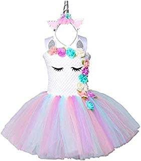 Pastel Unicorn Tutu Dress for Girls Kids Birthday Party Unicorn Costume Outfit with Headband pompous skirts dance costumes dresses 7-8Years